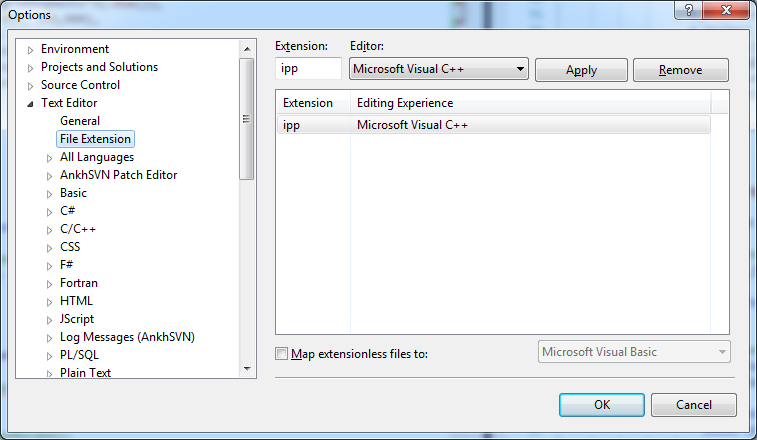 Syntax highlight of ipp-files in Visual Studio   Studio Freya