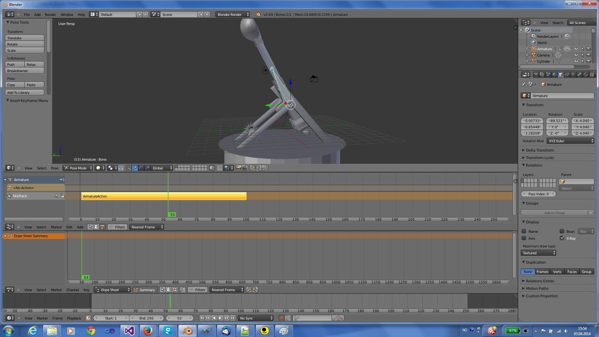 NLA editor animation strip in Blender