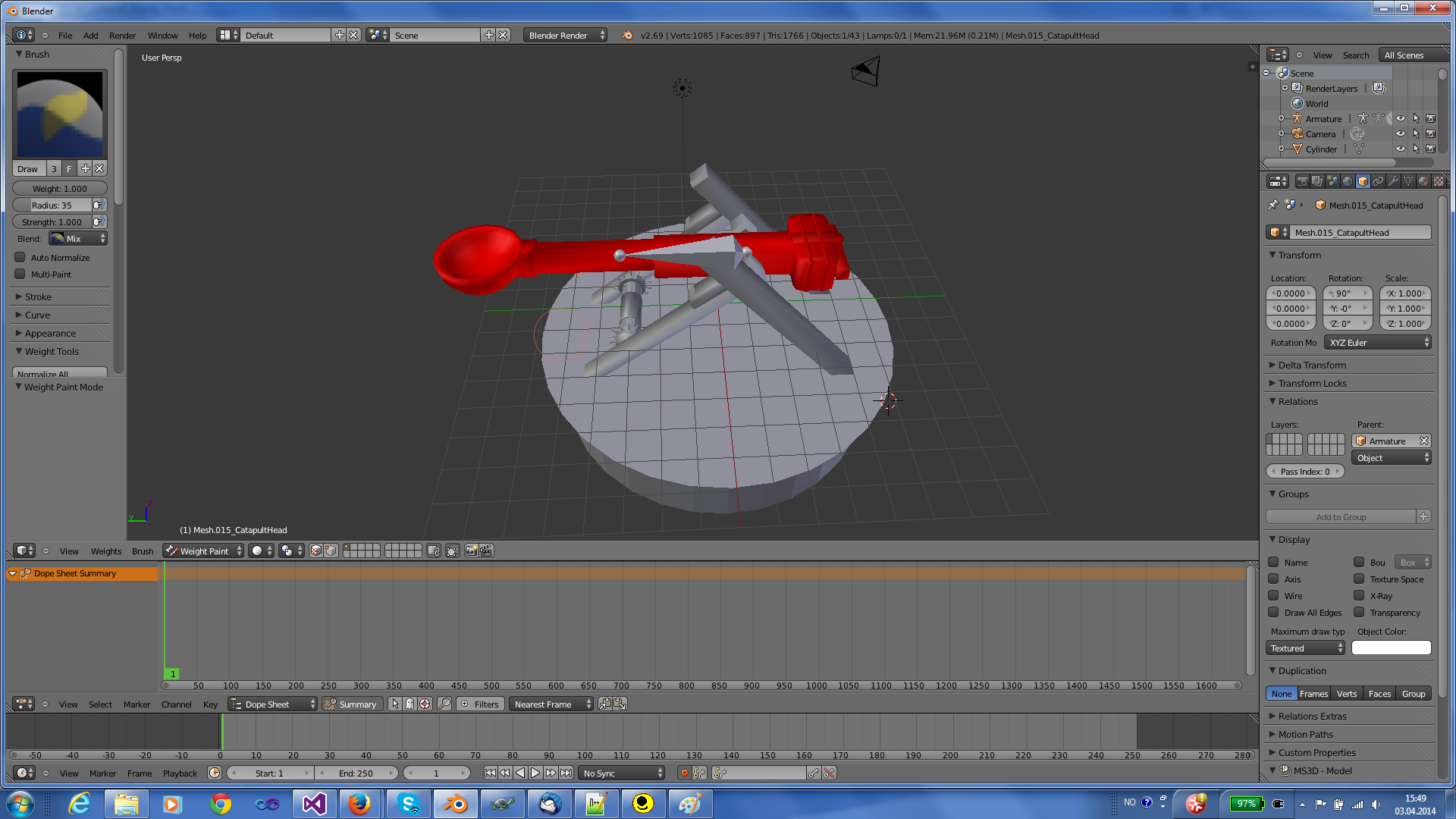 Use wieghts brush to assign weights to the object in Blender