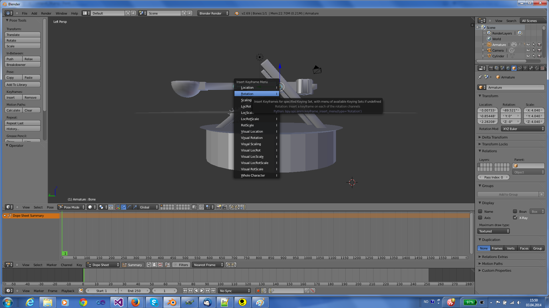 Click I in order to insert a key frame in Blender