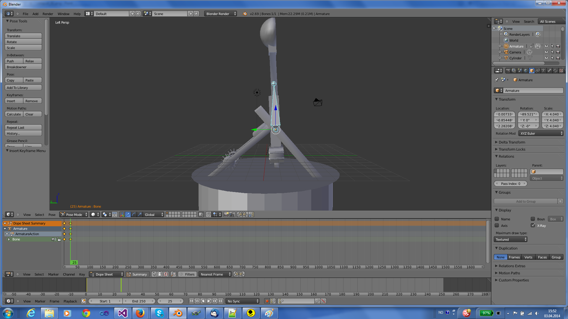 Rotate the bone and insert another key frame in Blender