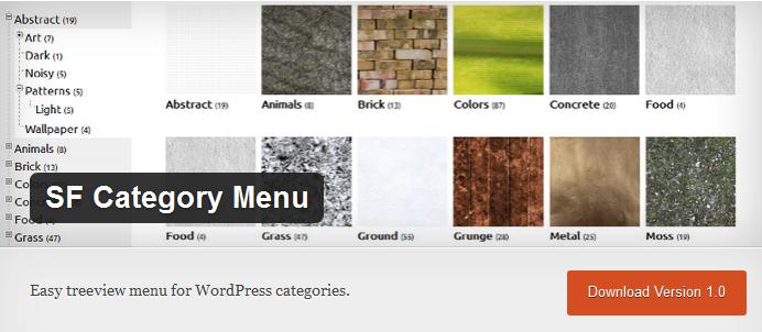 sf category menu plugin for wordpress from studiofreya