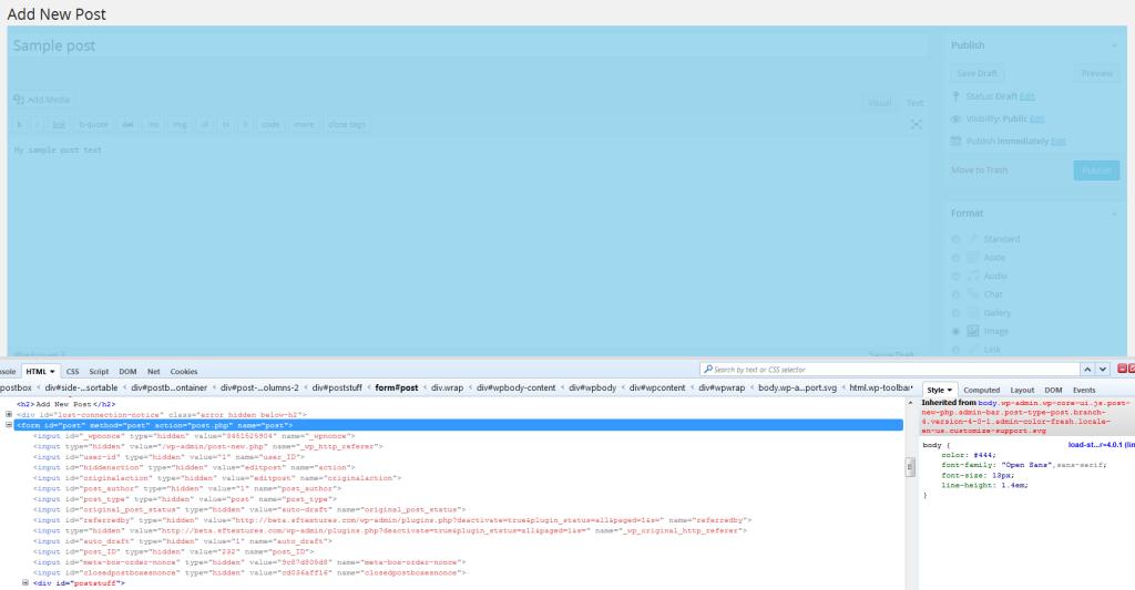 form post stuff in wordpress edit admin panel