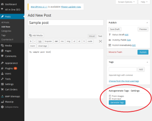plugin widget admin panel autogenerate tags