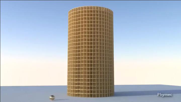 physics simulation falling tower
