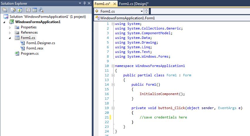 save credentials start form main file code
