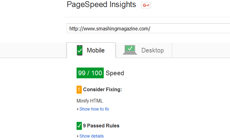 smashing magazine page speed