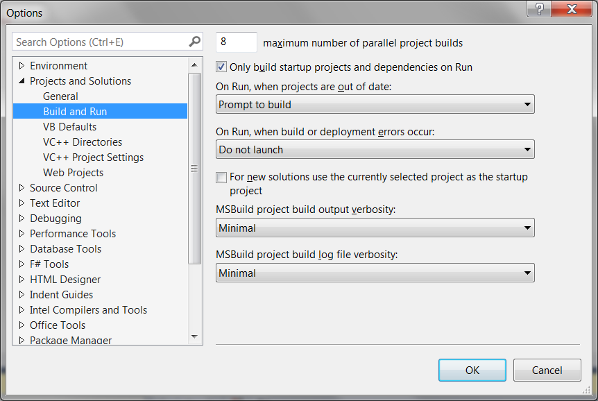 Build and run options visual studio