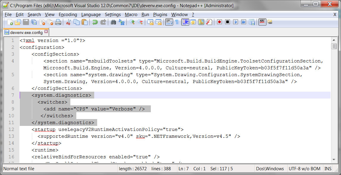 denenv exe config visual studio
