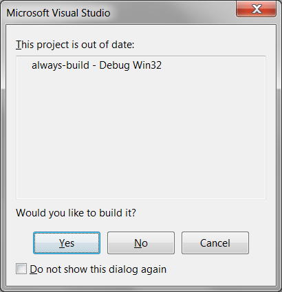 Project out of date popup Visual Studio