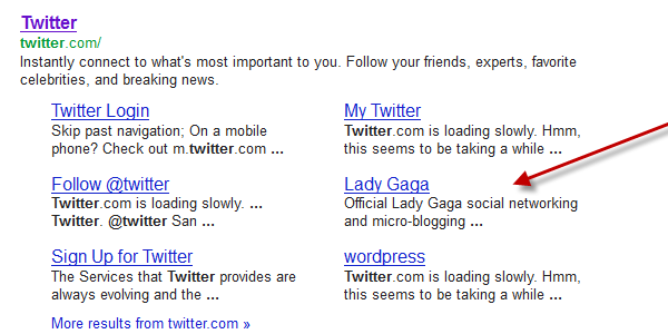 site links example twitter