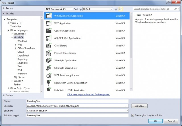 create new windows forms application in visual studio c sharp form 2013