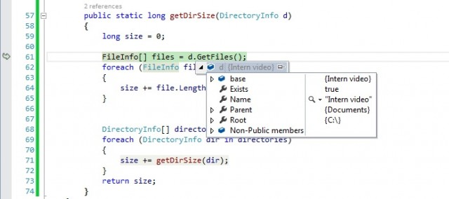exception handling debug folder size application c sharp visual studio