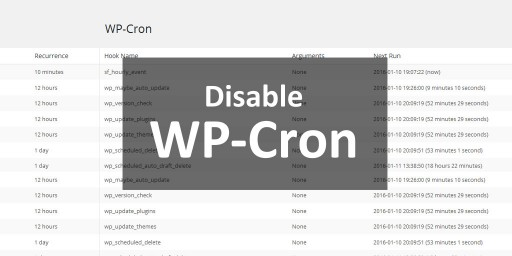 how to disable wordpress wp-cron job with crontab