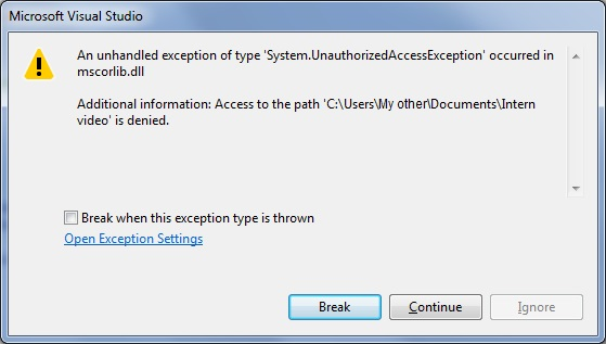 denied access exception visual studio c sharp folder size program