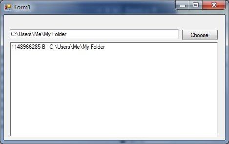 folder size windows bytes c sharp program