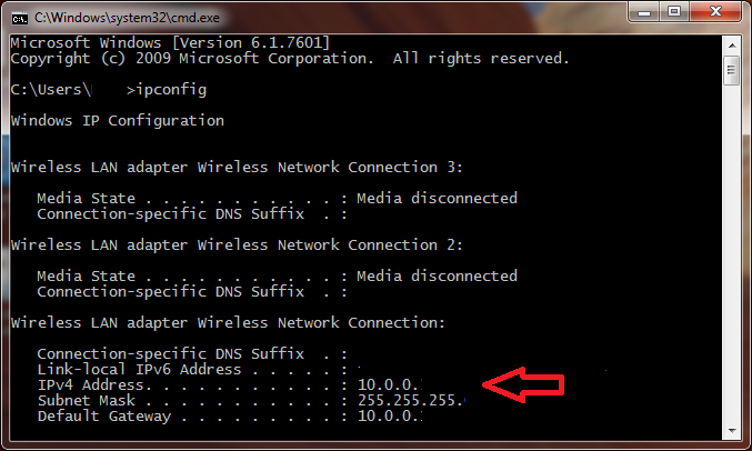 default WiFi configuration ipconfig