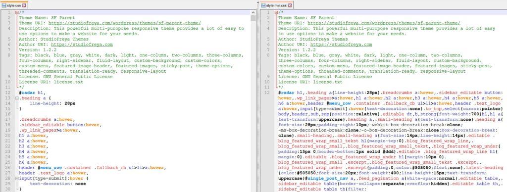Minify CSS with notepad++ | Studio Freya